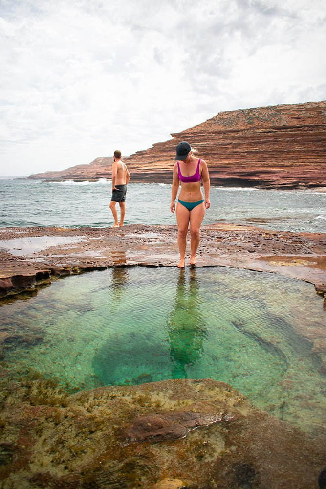 exploring rock pools in Kalbarri